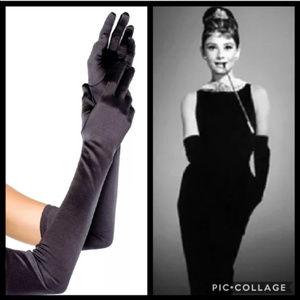 "Costume Black Satin Gloves Opera 22"" Length"